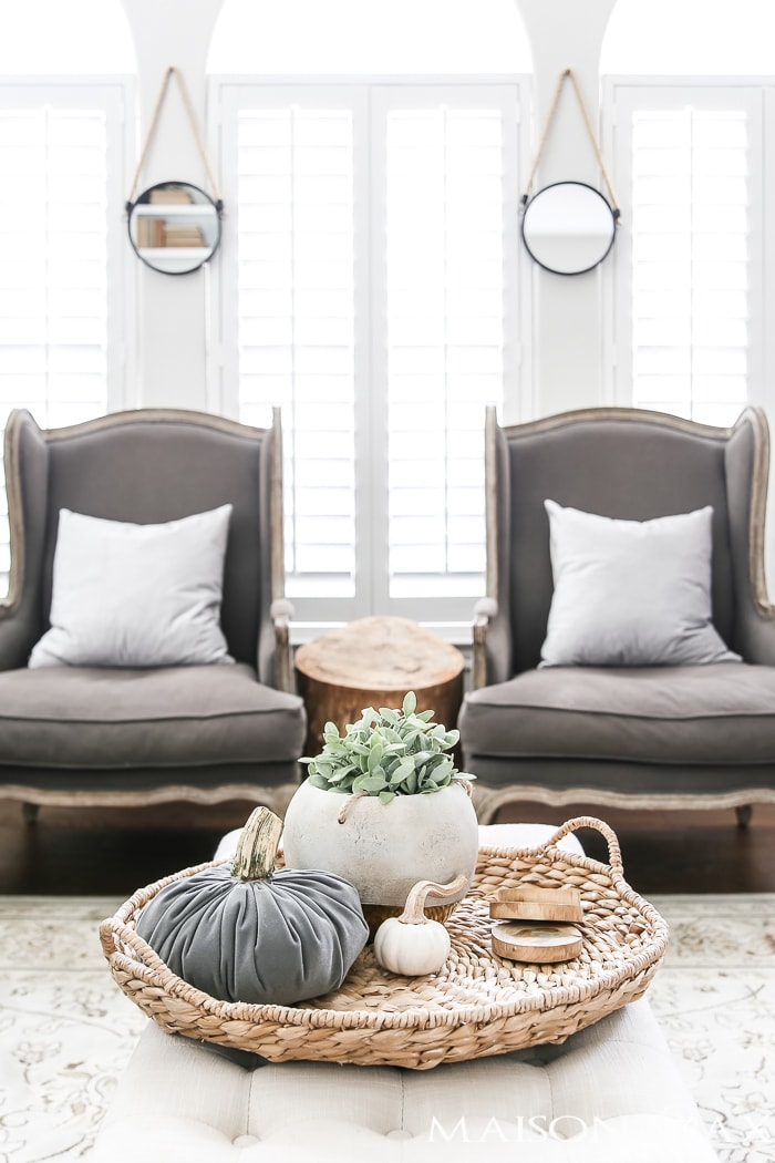 french armchairs and gray velvet pumpkins #neutralfalldecor