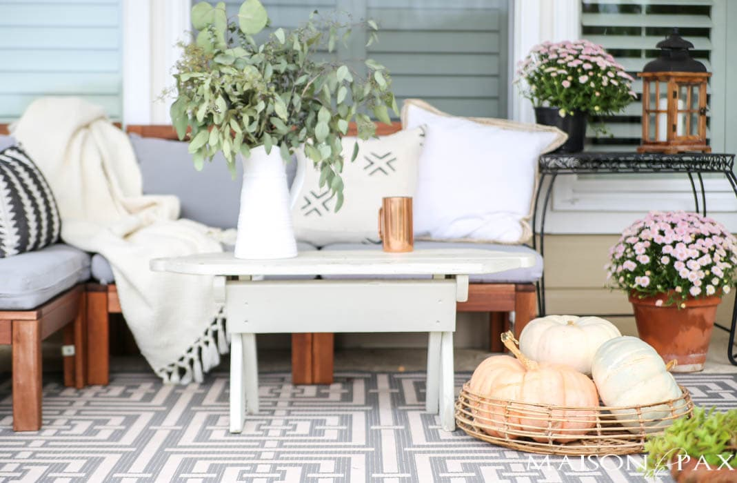 winter whites, creams, and grays with heirloom pumpkins for fall porch