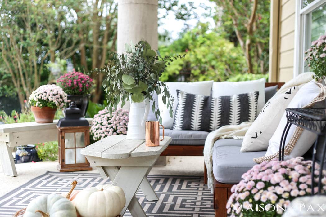 Pale Pink Mums And Eucalyptus Make A Soft, Elegant Fall Porch