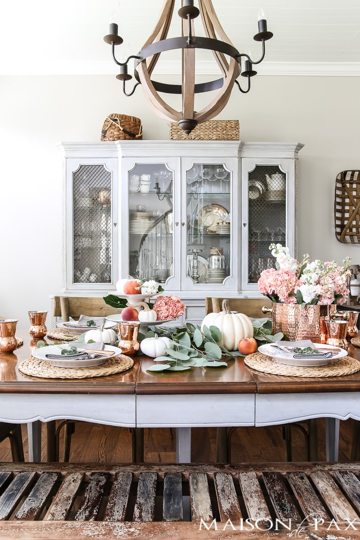 french country dining room with blush and white tablescape #falltable