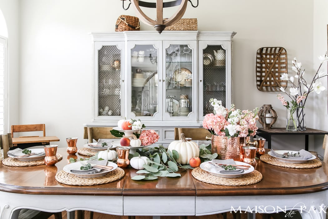 french country dining room decorated for fall with a blush and white tablescape #falltable