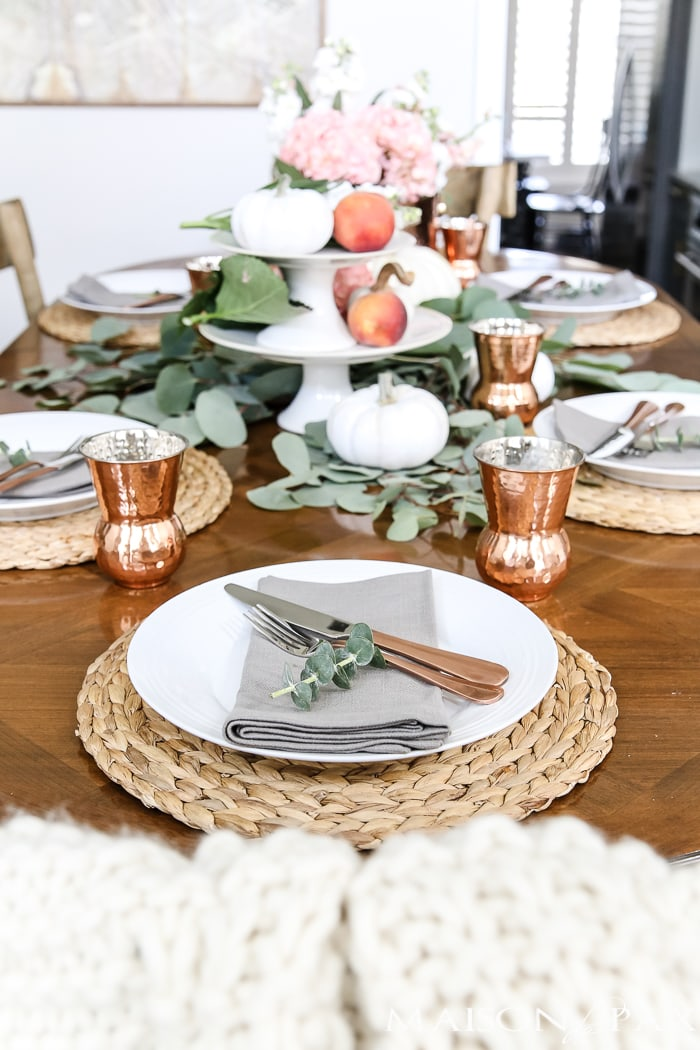 Fall Tablescape Pumpkins and Peaches Thanksgiving Table