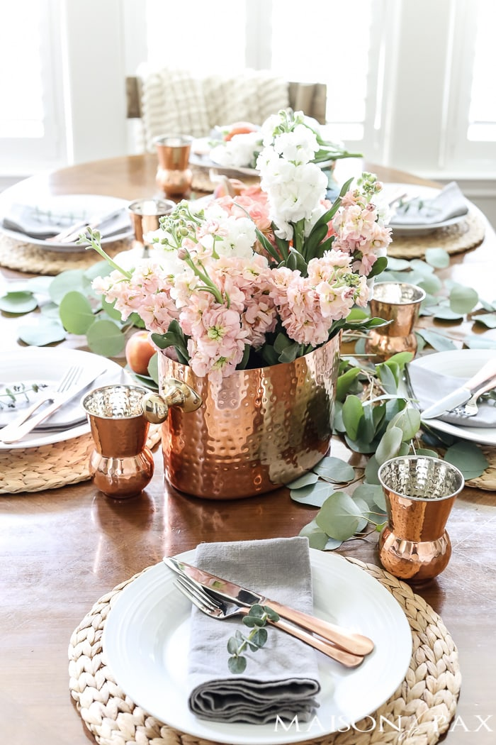 copper with blush and white flowers for a gorgeous tablescape