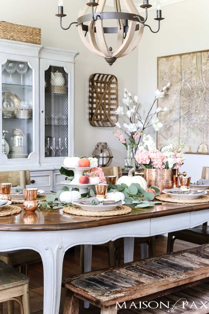 nontraditional fall table: blush and copper #falltable