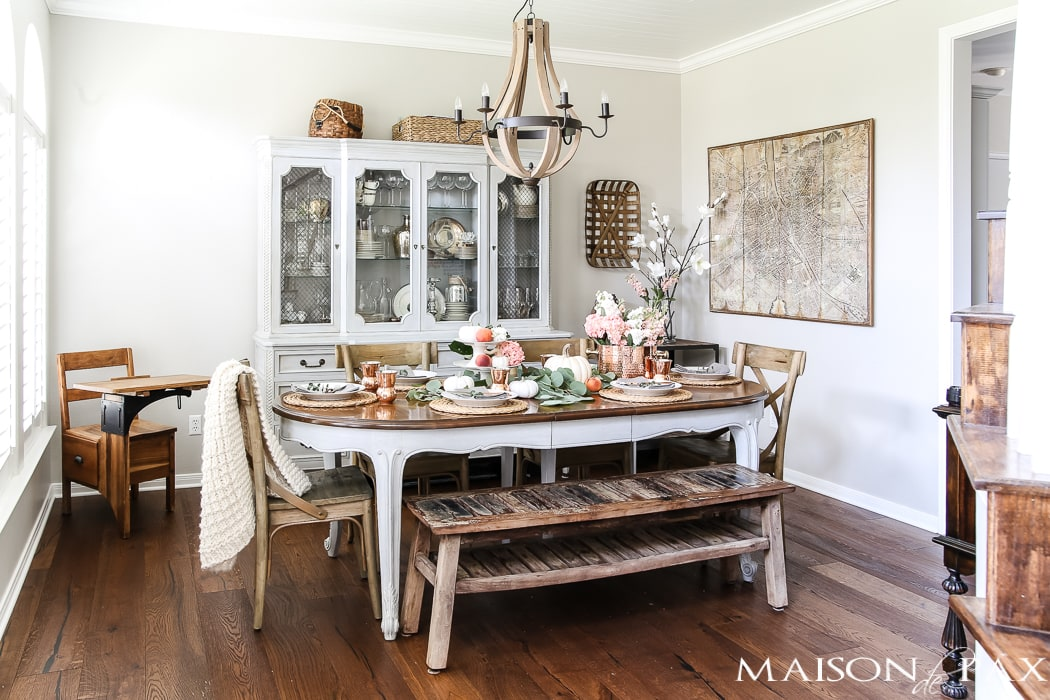 fall dining room with white pumpkins and peaches #falldecor