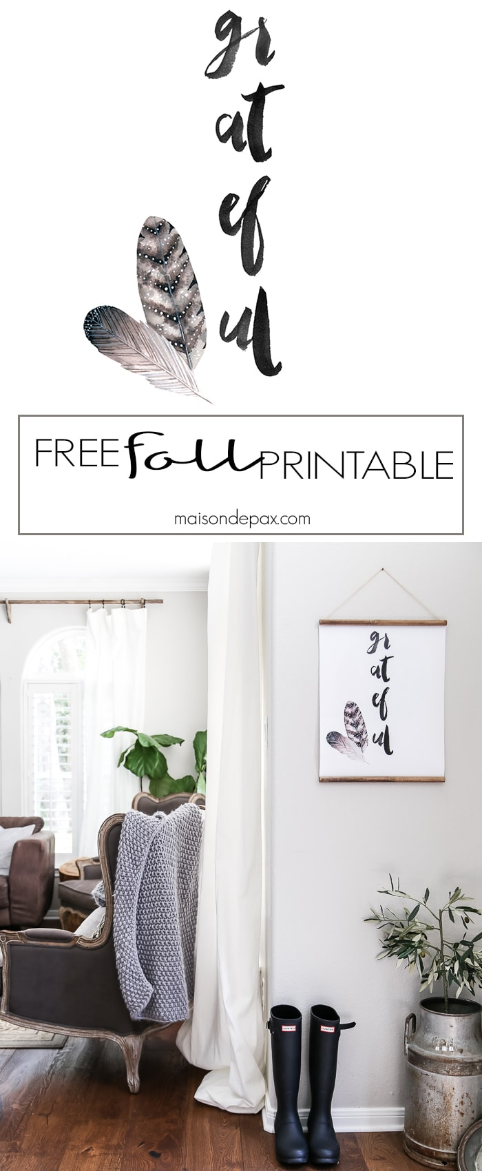 Download this free fall printable! Watercolor wall art: grateful with feathers makes beautiful, neutral fall decor.