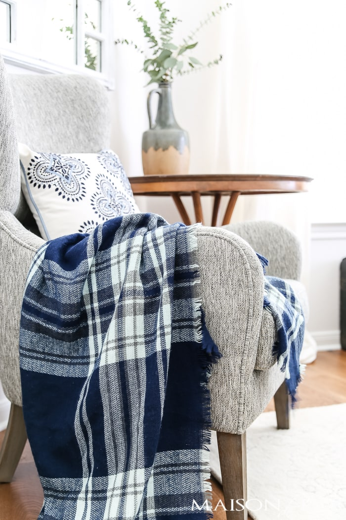 plaid blanket scarf acts as a perfect chair throw for fall- Maison de Pax