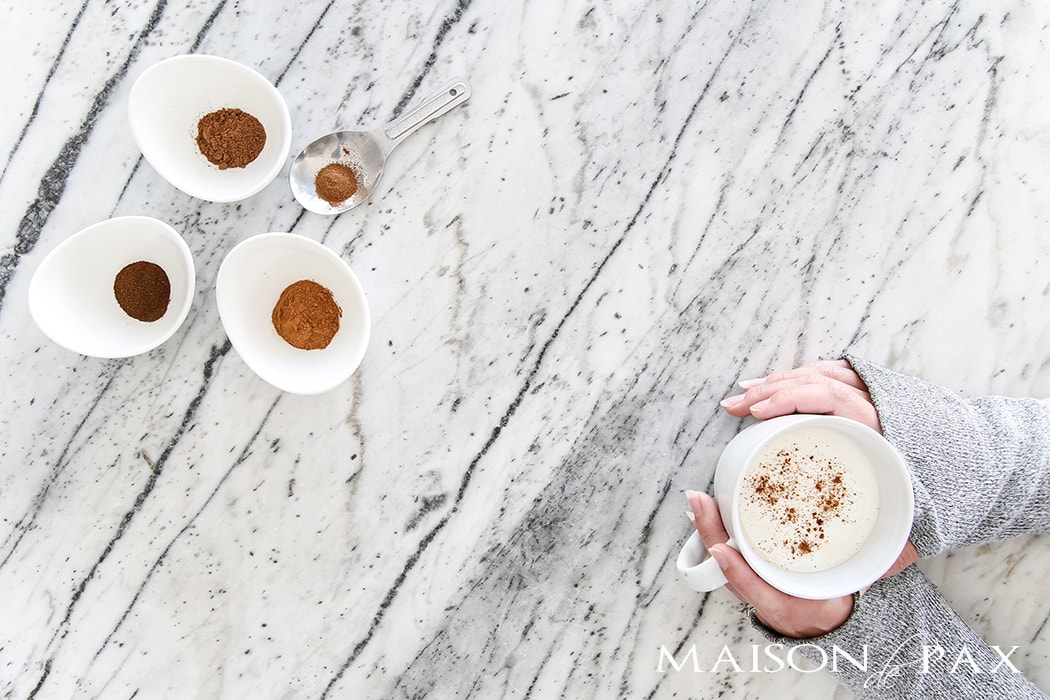 gorgeous marble countertops and beautiful pumpkin spice coffee- Maison de Pax
