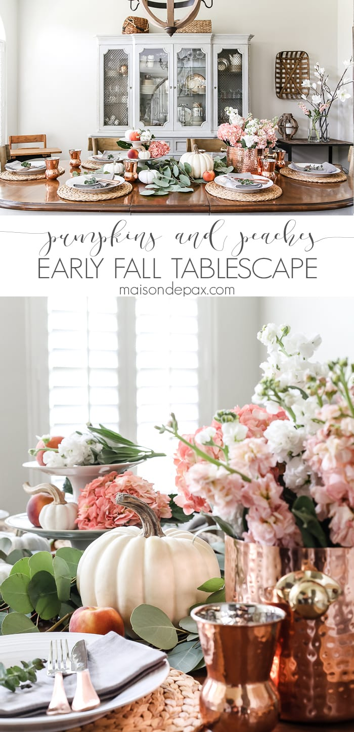 fall tablescape ideas: pumpkins, peaches, and blush hydrangeas with copper accents make a gorgeous non-traditional early fall table #falltable