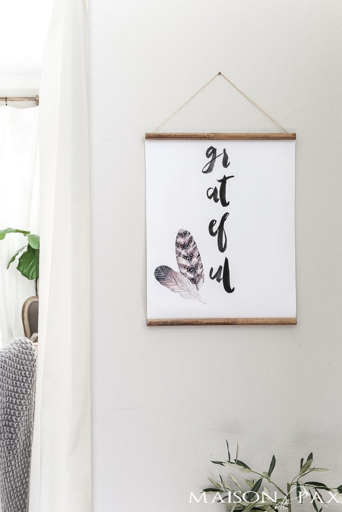 free fall printable: grateful wall hanging