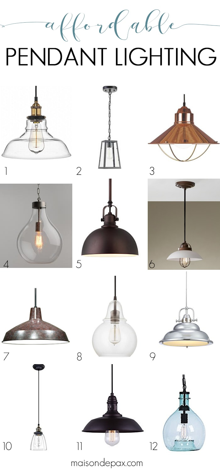 12 Affordable pendants: pendant lights are an easy, budget-friendly way to give any kitchen, bath, or other room a more polished look. Find out how to convert recessed lights to pendants and where to buy affordable pendant lights! #pendantlight