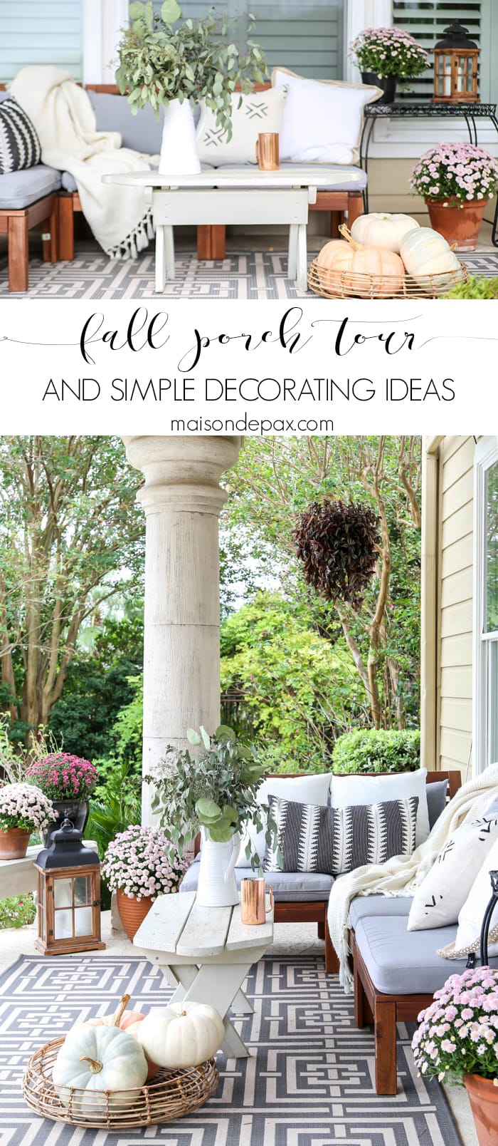 neutral fall porch tour and easy decorating ideas
