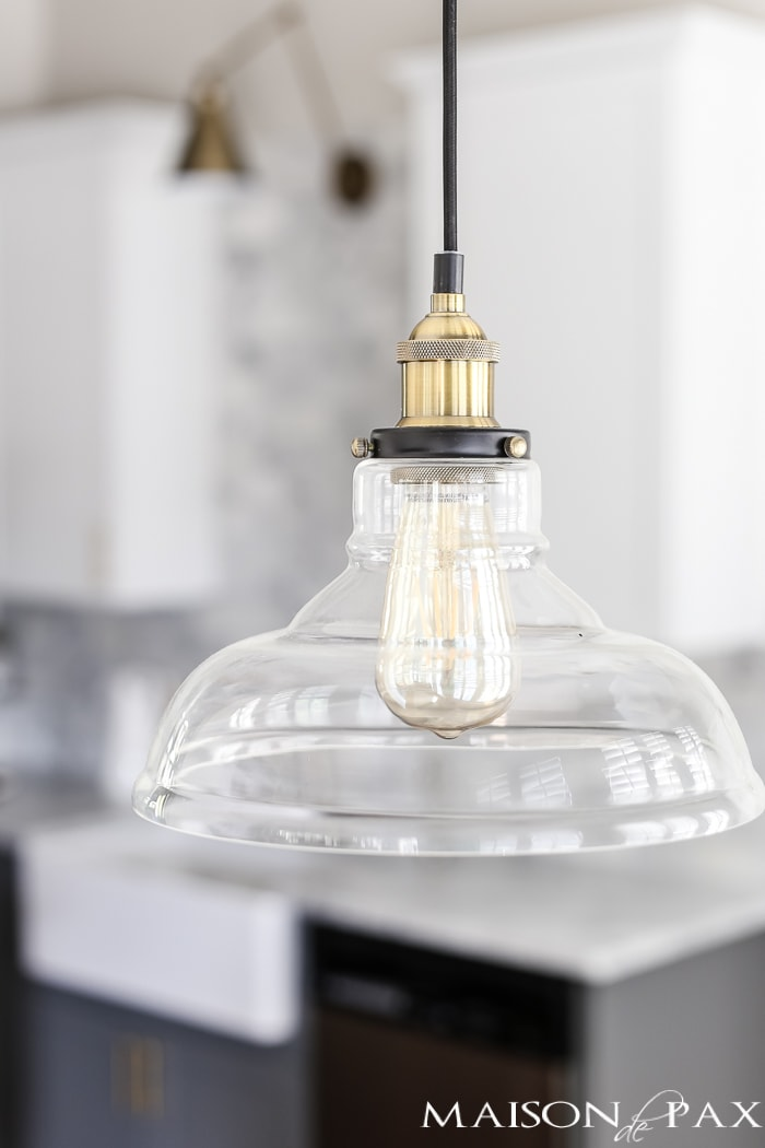 brass and glass industrial pendant - perfect for a breakfast area or kitchen #pendantlight