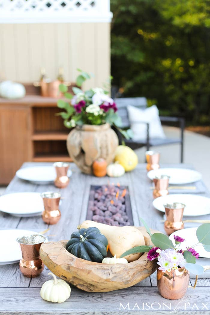 Simple Outdoor Fall Table (decorated with grocery store items!) & Thanksgiving Table Decorations and Ideas - Maison de Pax