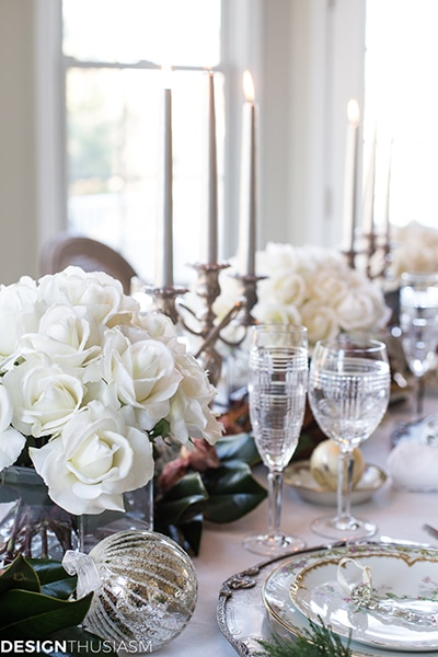 white roses and candelabra holiday tablescape - Maison de Pax