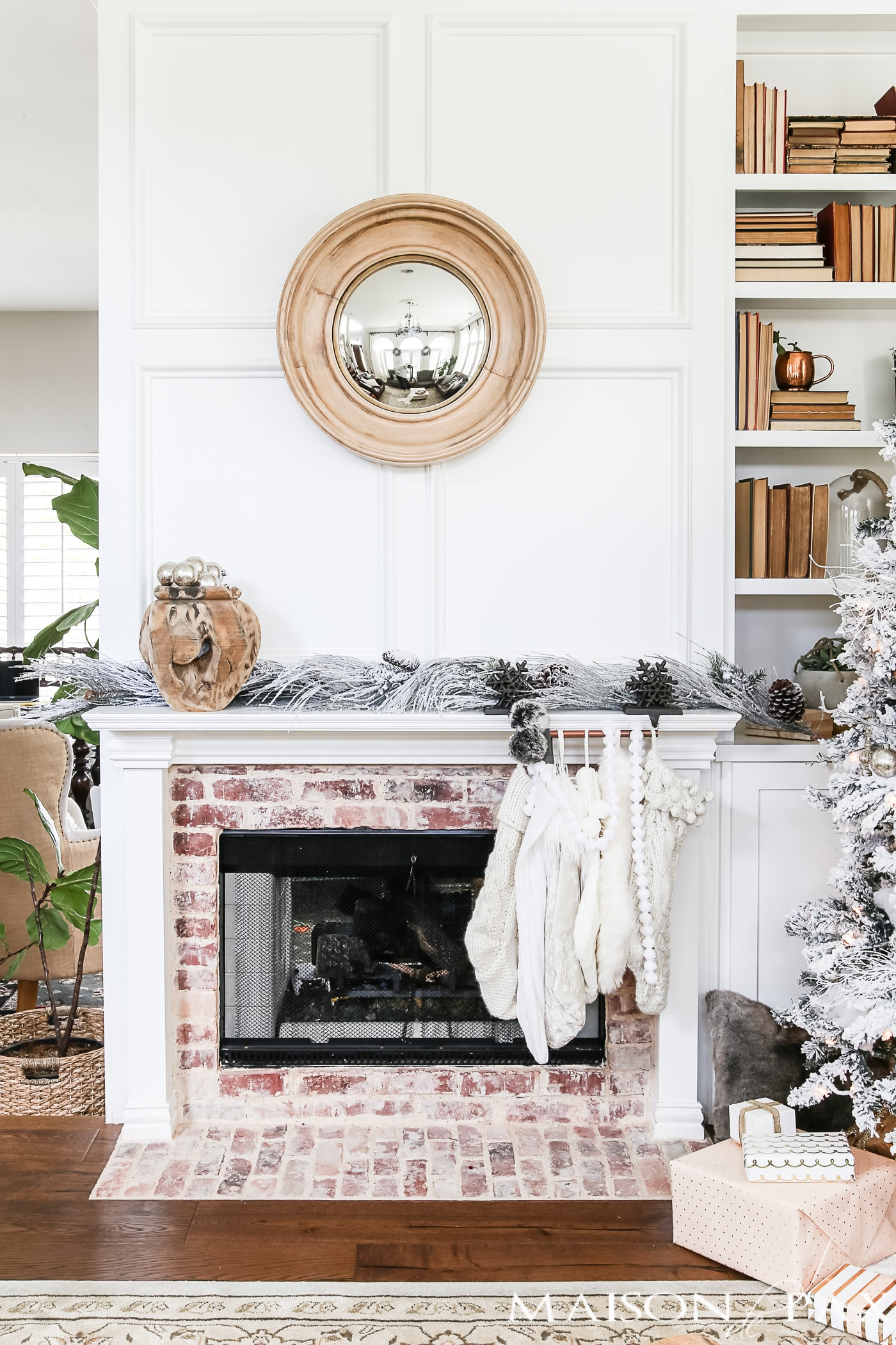 Simple Winter and Christmas Fireplace Mantle- Maison de Pax