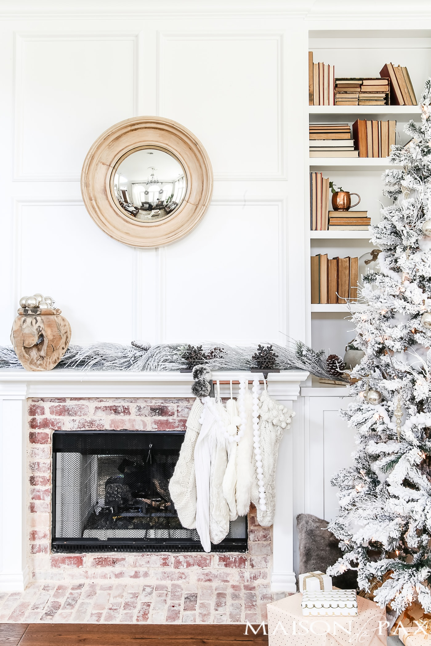 white christmas decor with a flocked tree and touches of blush neutralchristmas - Blush Christmas Decorations