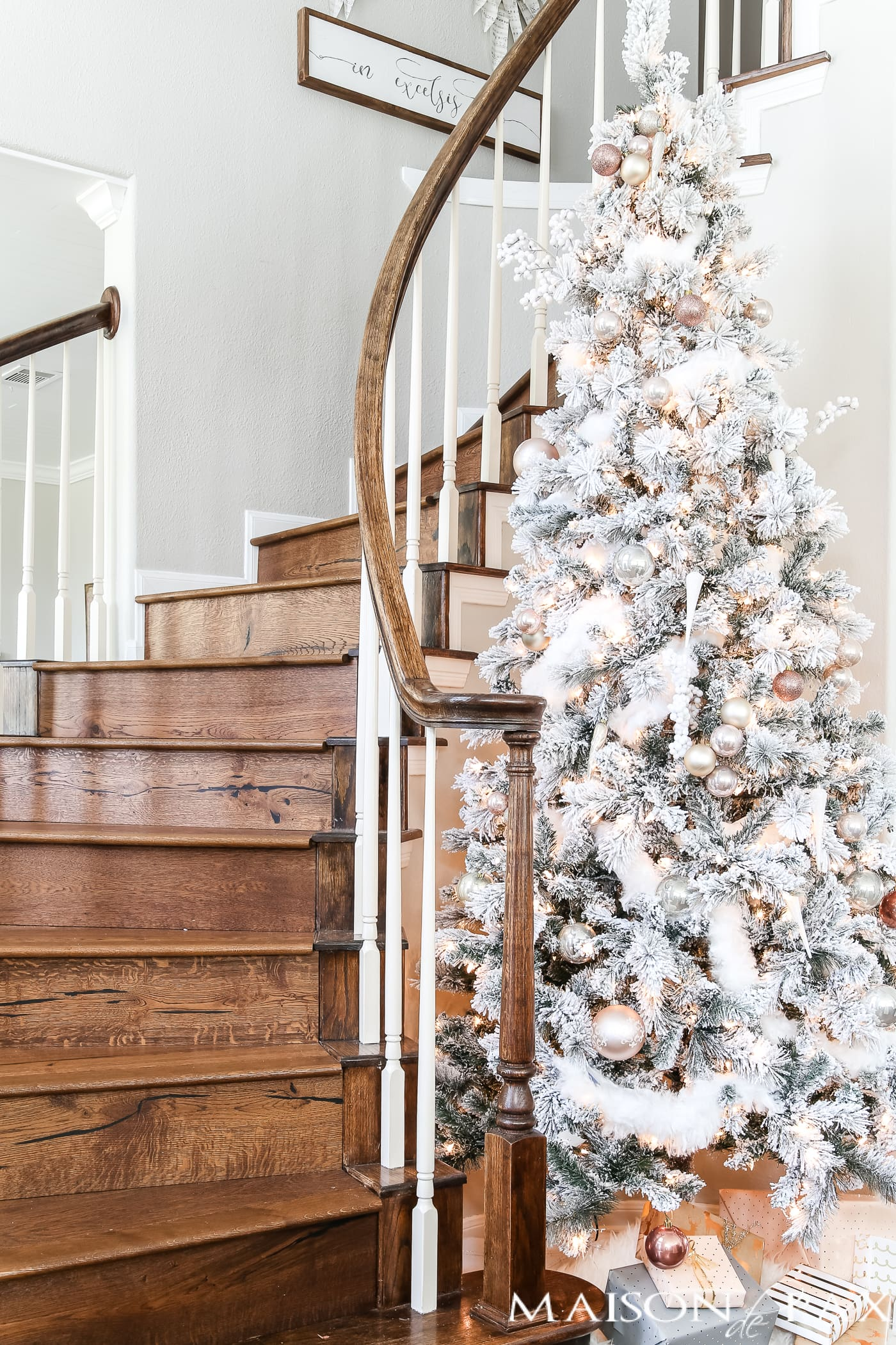 tall flocked tree with blush and copper ornaments #blushtree