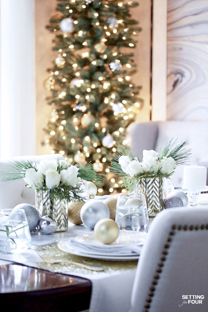 white and gold Christmas table ideas #Christmastablescape