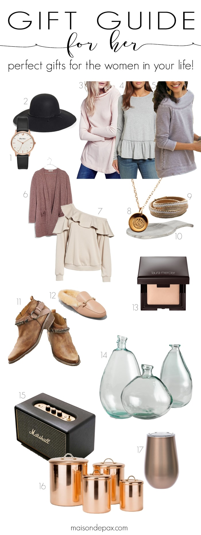 Looking for the perfect gift for her? These gift ideas for your wife, mom, sister, or friend capture the casually elegant look and feel every woman wants #giftsforher