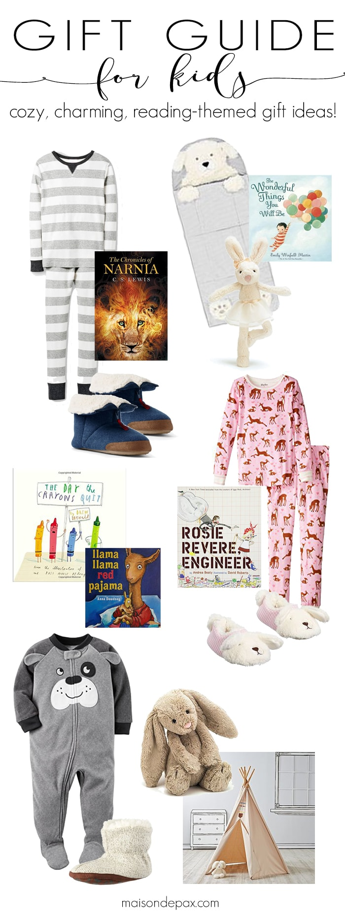 Bedtime and Books: pajamas, story books, and other cozy Christmas gift ideas for kids #kidsgifts