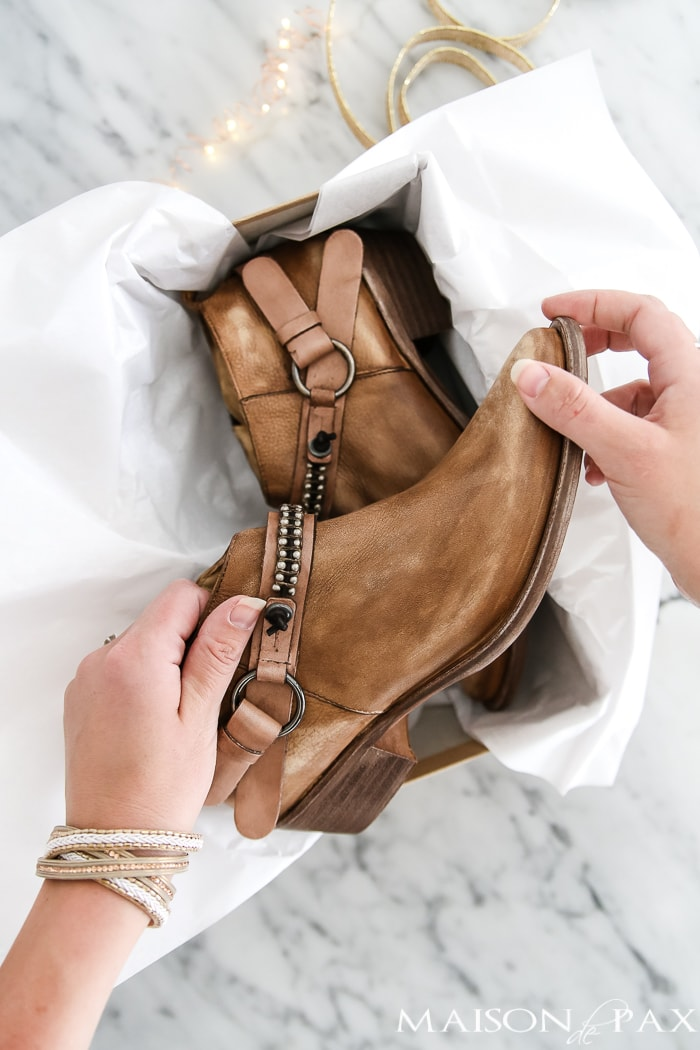 rugged yet feminine leather booties - one of many great holiday gift ideas #giftsforher
