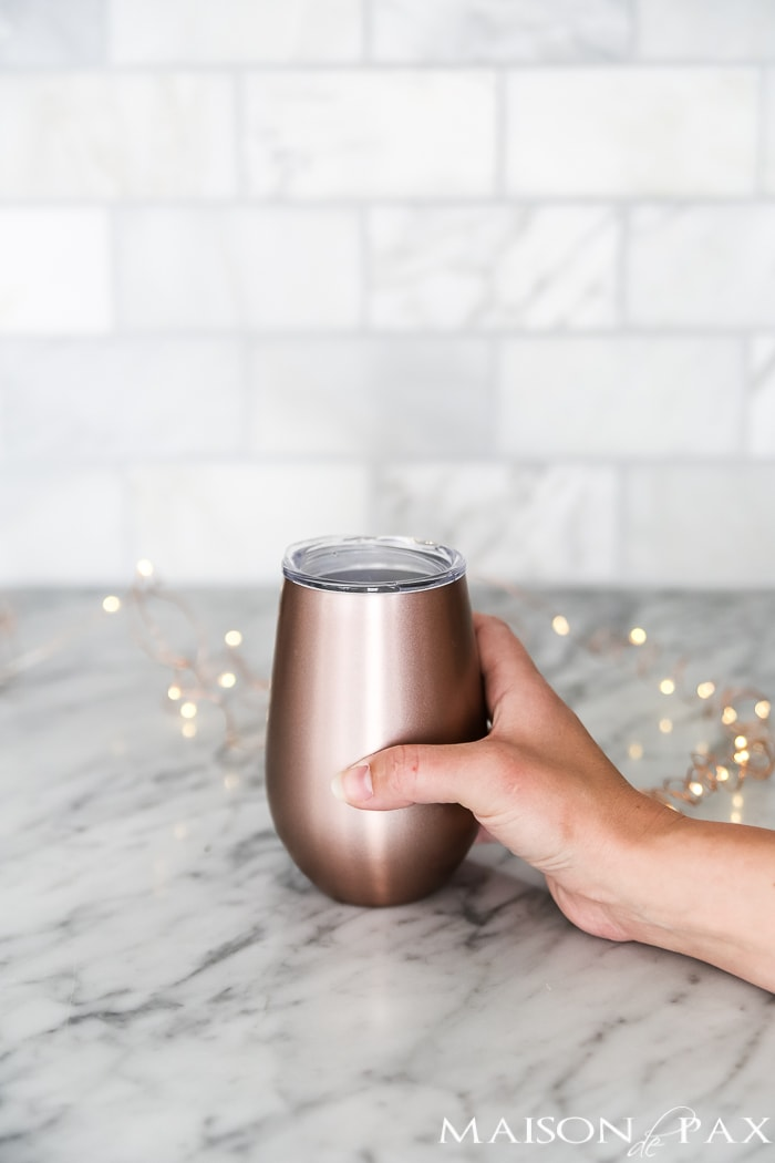 rose gold wine tumbler - gift ideas for her! #giftsforher