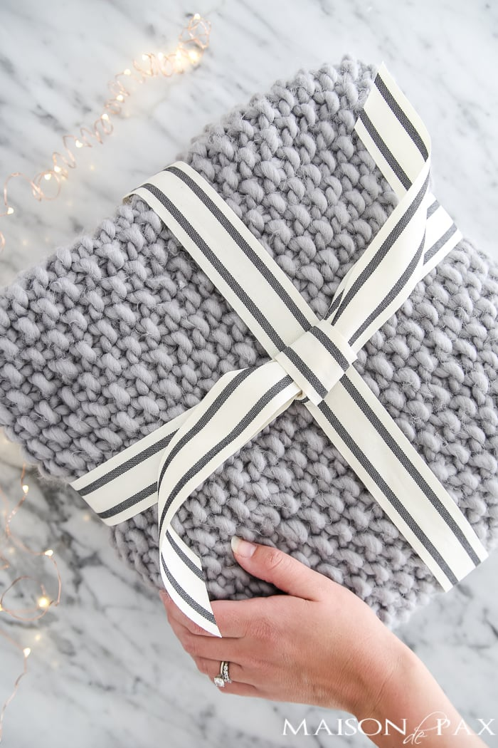 cozy knit wool blanket makes a beautiful Christmas gift! #giftideas