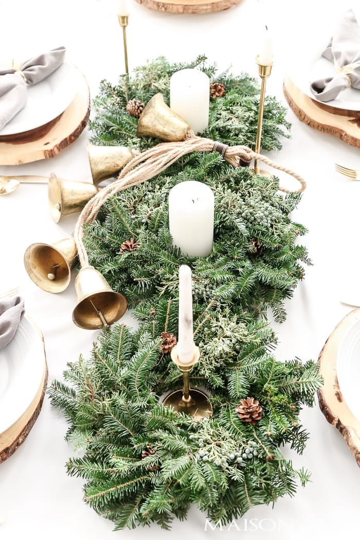 three mini wreaths and candles for a natural holiday centerpice #holidaycenterpiece