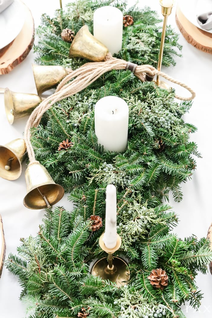 Green and gold neutral table centerpiece with gold bells- Maison de Pax