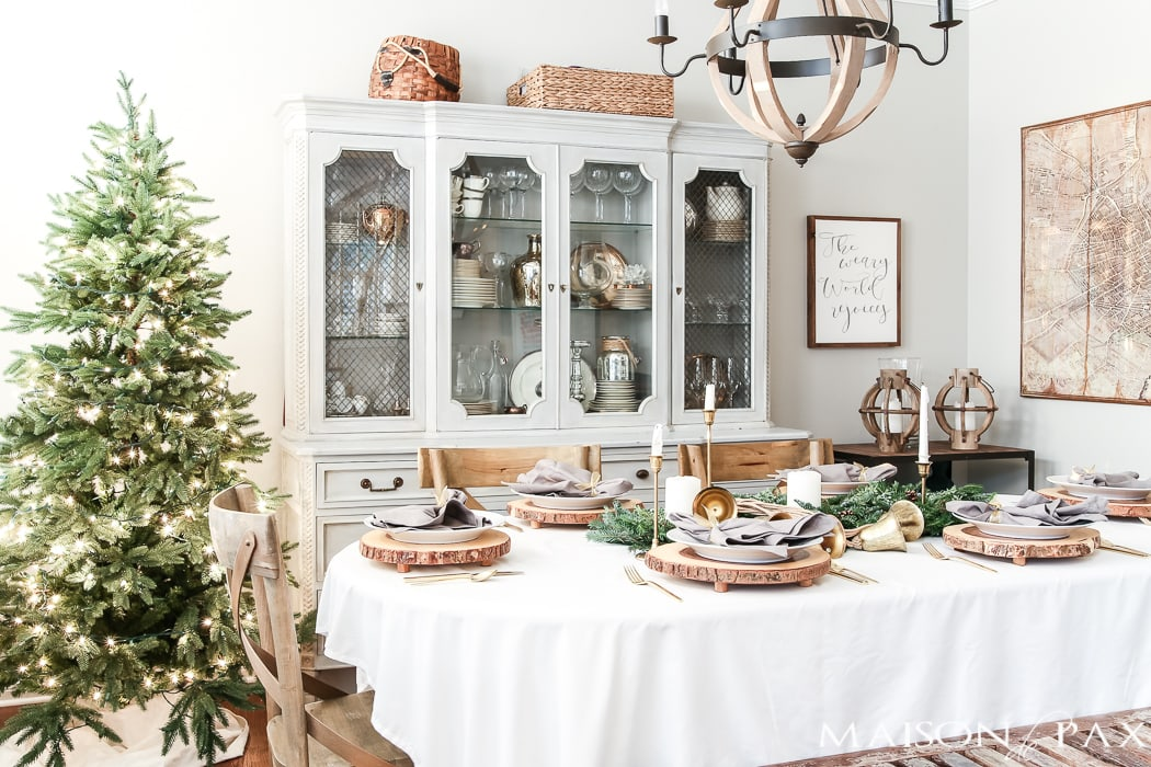 green and gold with white and gray Christmas table and dining room #holidaydining