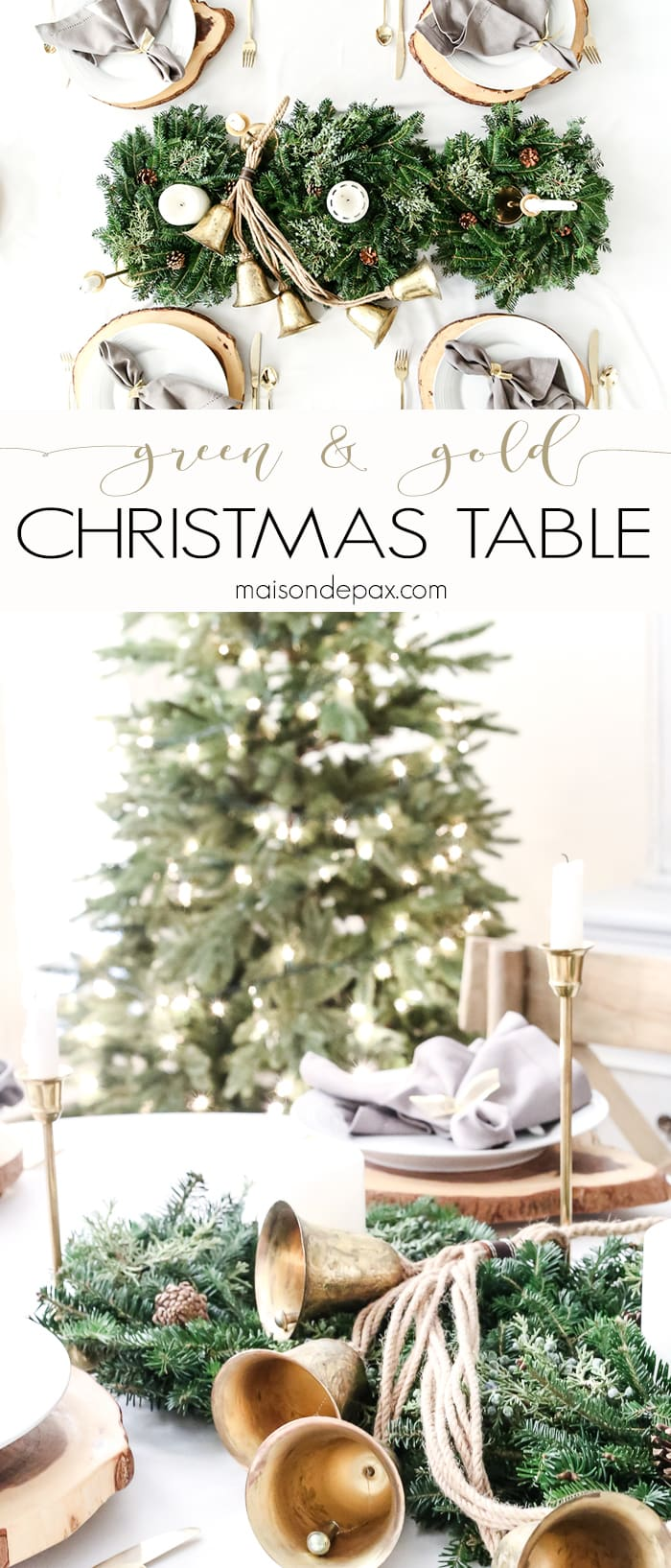 Looking for simple, neutral tablescapes for Christmas?  This green and gold Christmas tablescape with a natural centerpiece of green garland is classic and lovely.  Plus, get a fabulous hack for your holiday table! #Christmastablescape