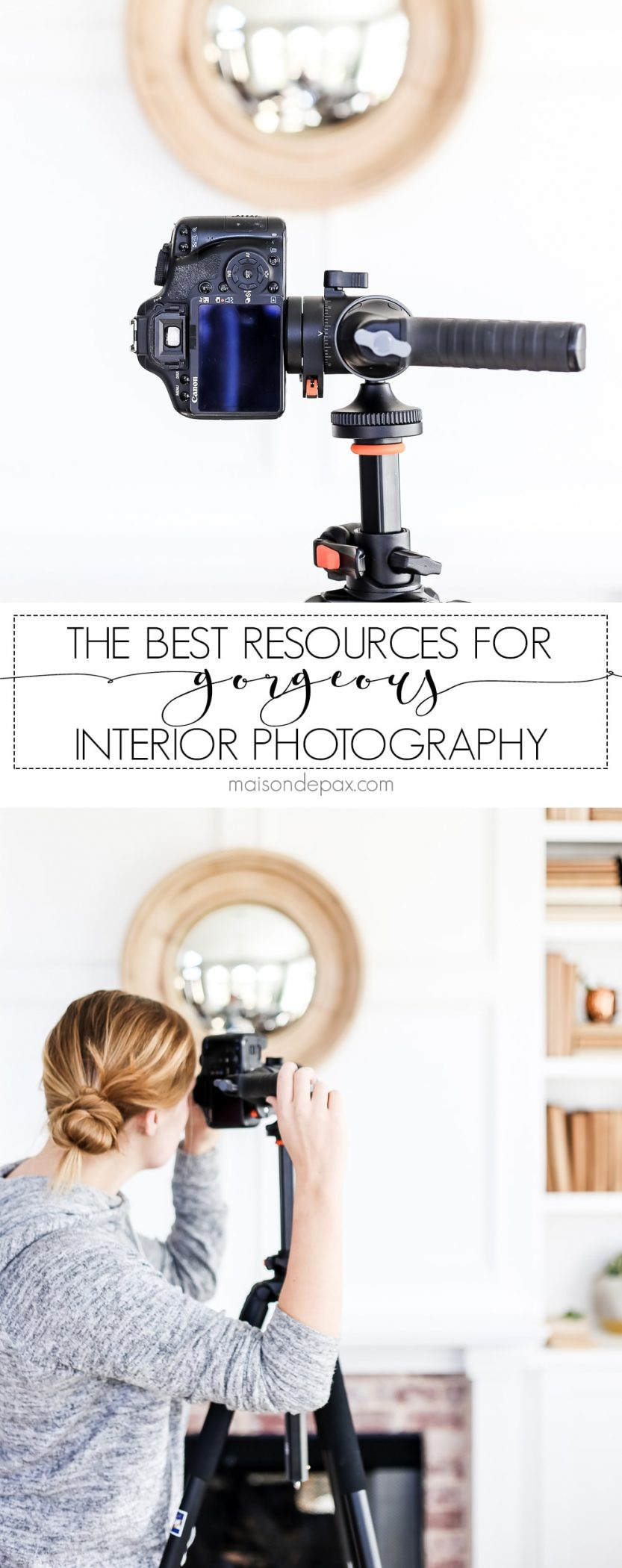 Are you a blogger, interior designer, real estate agent, homeowner, or small business owner looking to take beautiful interior photos?  These photography resources will help you take the best home photos you can. #photographytips #interiorphotography #interiorphotos #phototips #photography #interiordesign #bestinteriorphotos #cameraequipment