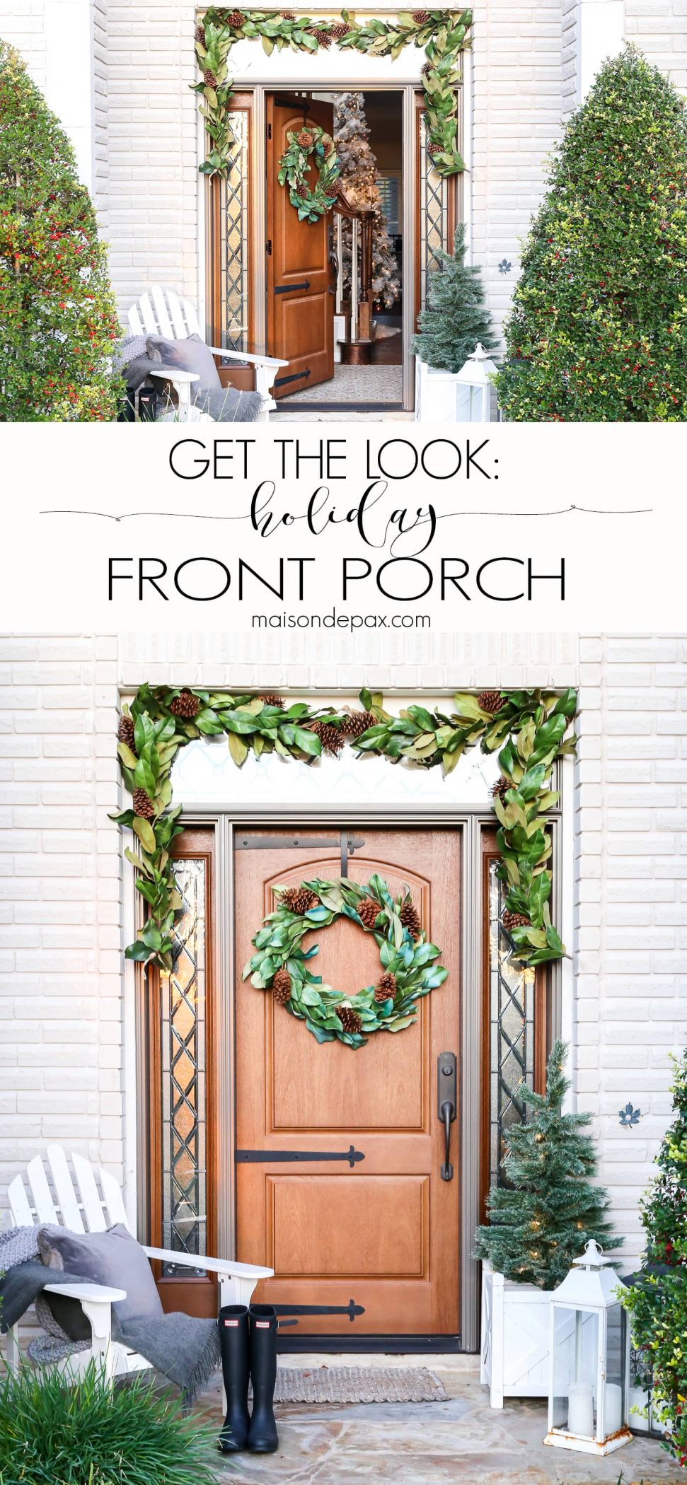 Christmas front porch decorating ideas #Christmasporch
