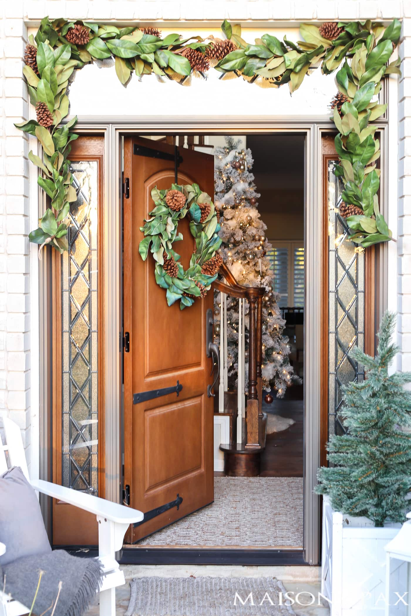 Magnolia Garland Around The Front Door And Magnolia Wreath On The Door   So  Southern And