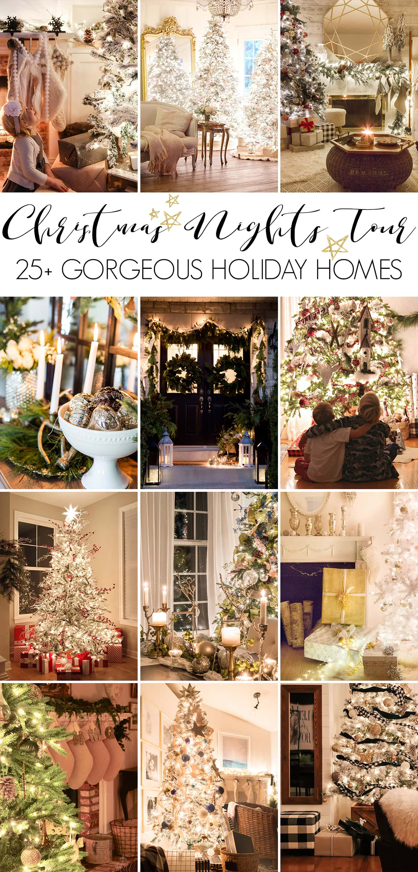 Christmas nights tour: gorgeous Christmas lights at night in these 25+ home tours kellyelko.com #christmasnightstour #holidayhometour #christmaslights