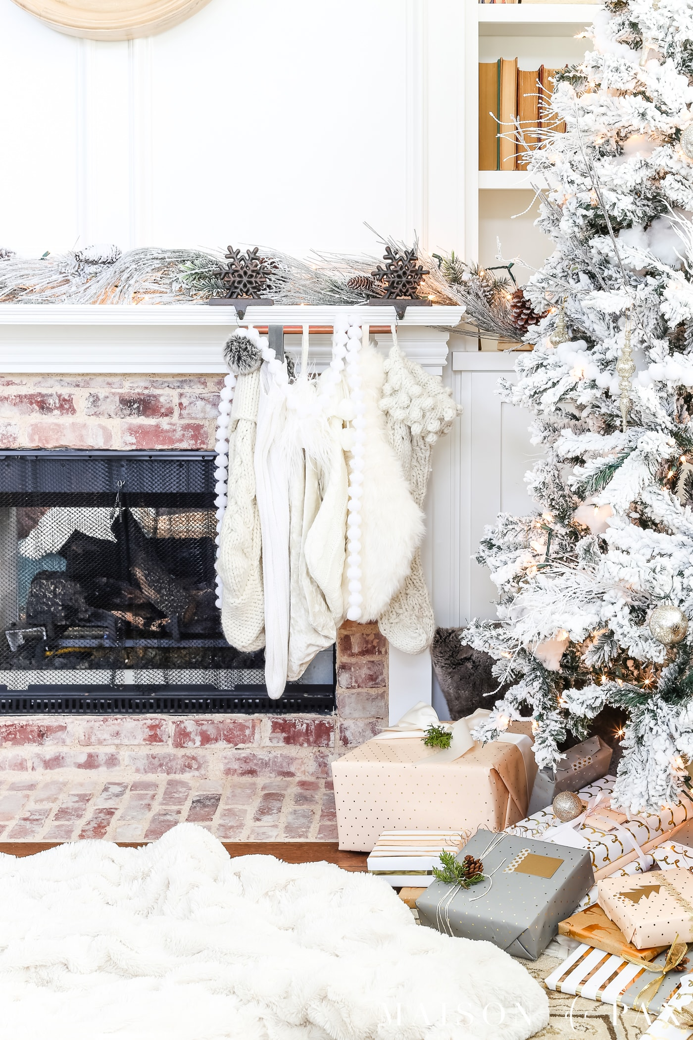 Holiday Fireplace Vignette- Maison de Pax