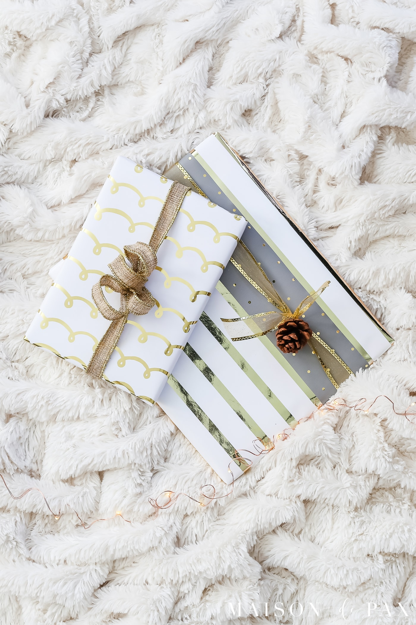 easy gift wrapping ideas: layer complementary papers #christmaspresents #giftwrap