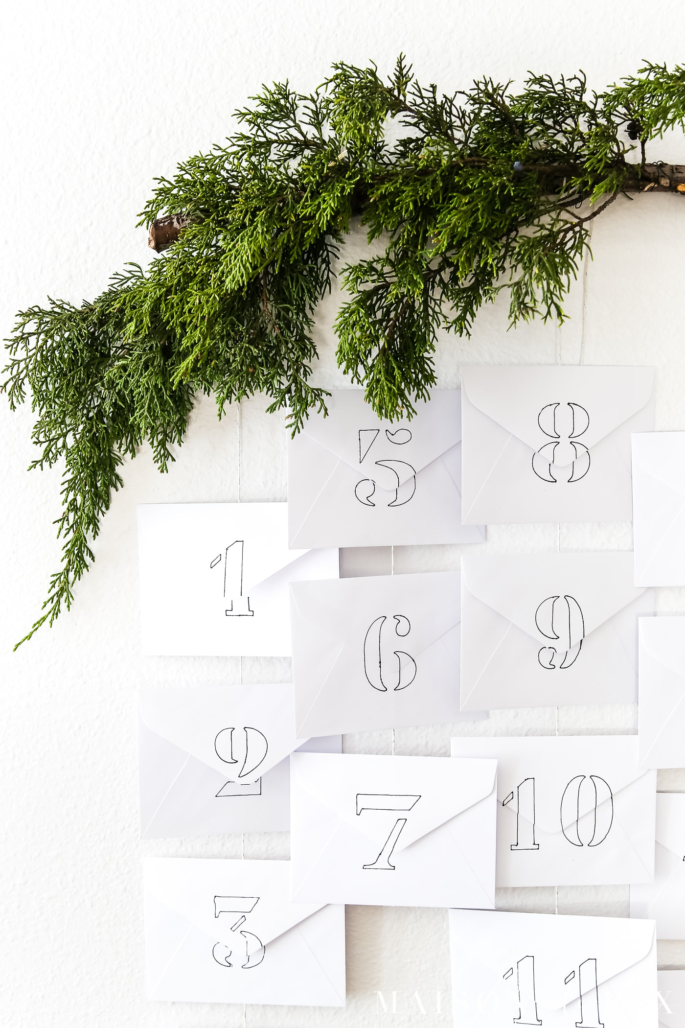 evergreen branch on diy advent calendar #diyadventcalendar