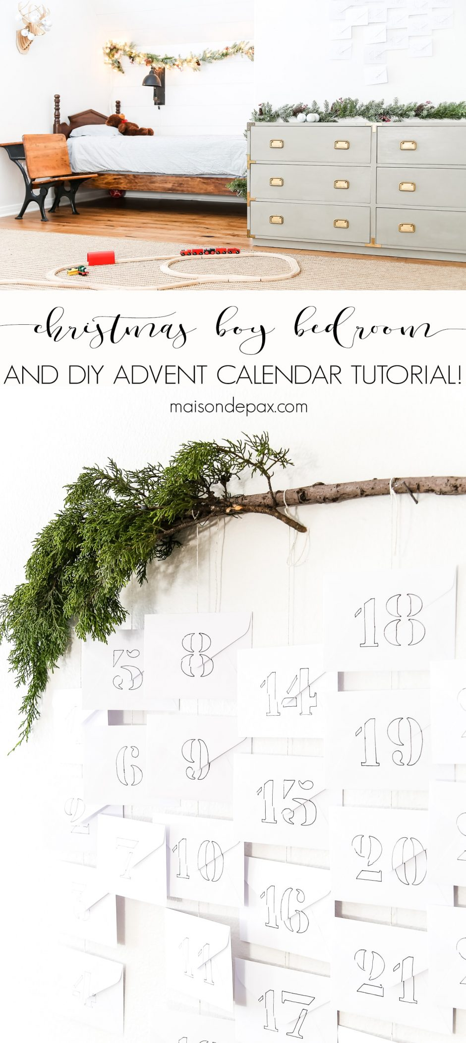 Want to make Christmas extra magical for your kids?  Bring some simple Christmas decor into their space.  This diy advent calendar and kids' simple Christmas bedroom is perfect for the holidays! #diyadventcalendar