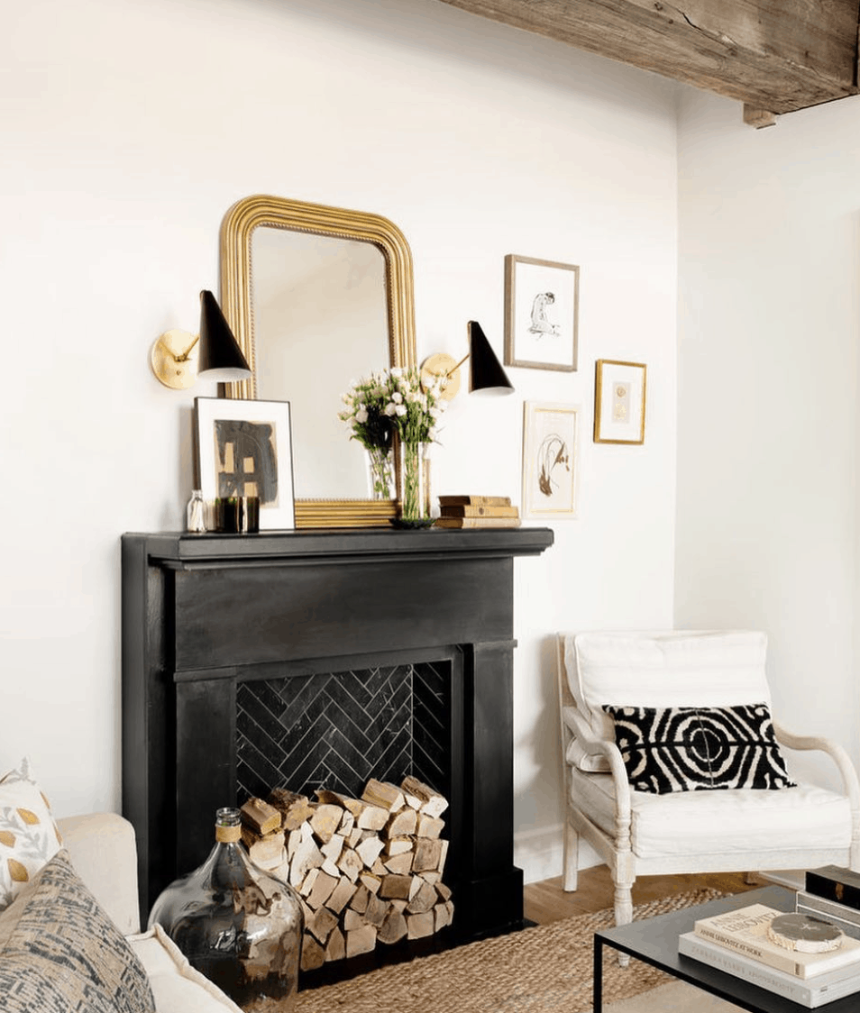 Black painted fireplace- Maison de Pax