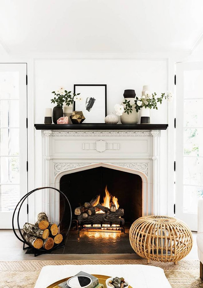 Painted vintage fireplace- Maison de Pax