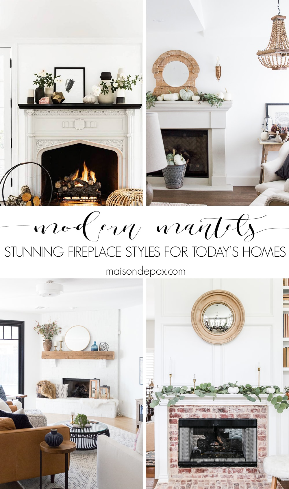 Looking for fireplace ideas to update an outdated fireplace or design a new one?  Trying to find the perfect mantel inspiration for your fireplace?  Here are five gorgeous fireplace and mantel options: painted brick fireplaces, precast fireplace surrounds, reclaimed wood mantels, white millwork mantels, and even faux fireplaces made with antique mantels. #fireplaceideas #fireplaceinspiration #mantel #brickfireplace #precastfireplace #modernfireplace