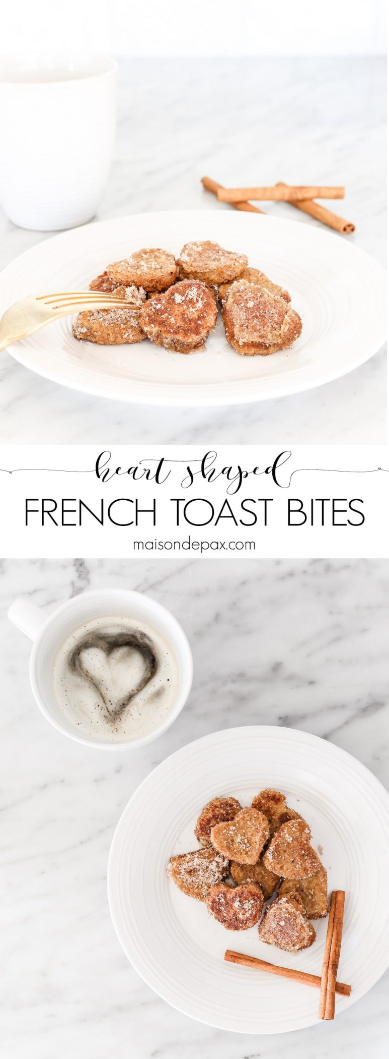 Heart French toast bites make the perfect Valentines breakfast. Get the full recipe for this easy treat! #valentinesrecipe #valentinesbreakfast #hearttoast #frenchtoast #valentinestreat