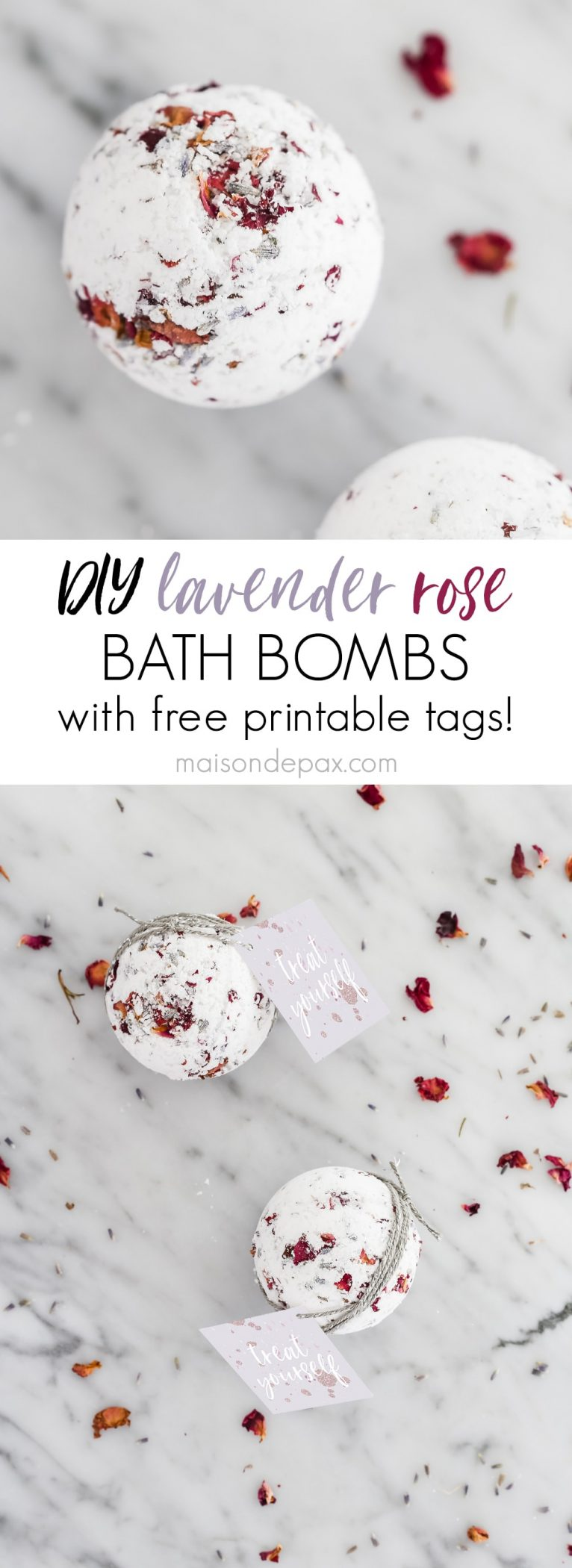 Lavender Rose Bath Bombs collage: these make the perfect handmade, affordable gifts for Valentine's Day, birthdays, Mother's Day, Christmas, and more!  Find out how to make your own bath bombs with this step by step tutorial. #bathbomb #bathbombrecipe #lavenderrose #lavendereucalyptus #lavender #spa #freeprintable #valentines #handmade #handmadegifts #essentialoils