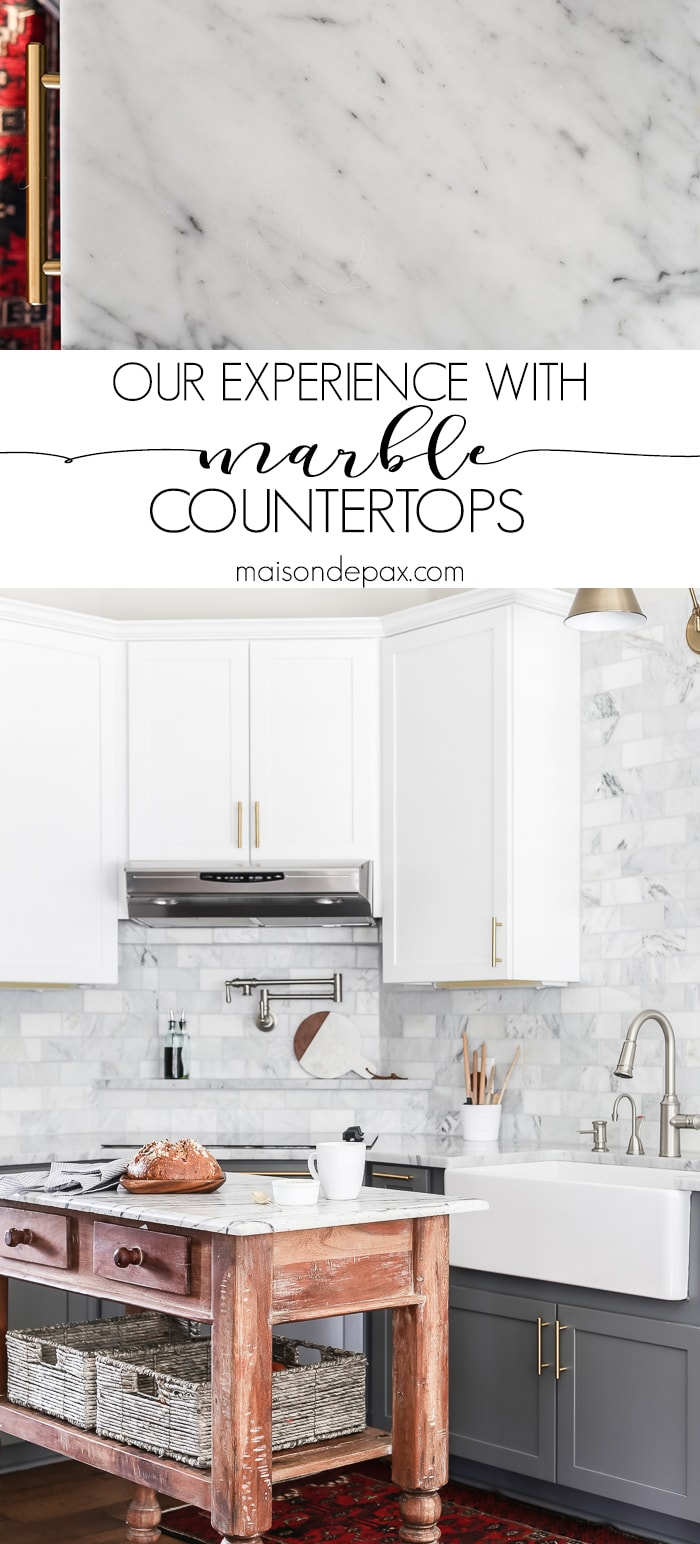 A detailed experience from a family with marble kitchen countertops! Should I use marble in the kitchen?  It's one of the most common questions for today's kitchen design!  Read all about the pros and cons of marble countertops as well as what it is like living with honed marble countertops in a household with kids. #carraramarble #marblebacksplash #marblecountertops #marblecounters #marblekitchen
