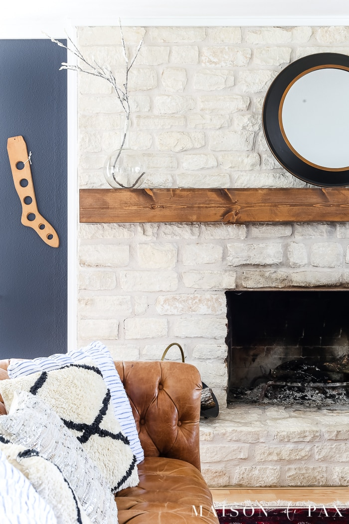 Painted stone fireplace- Maison de Pax