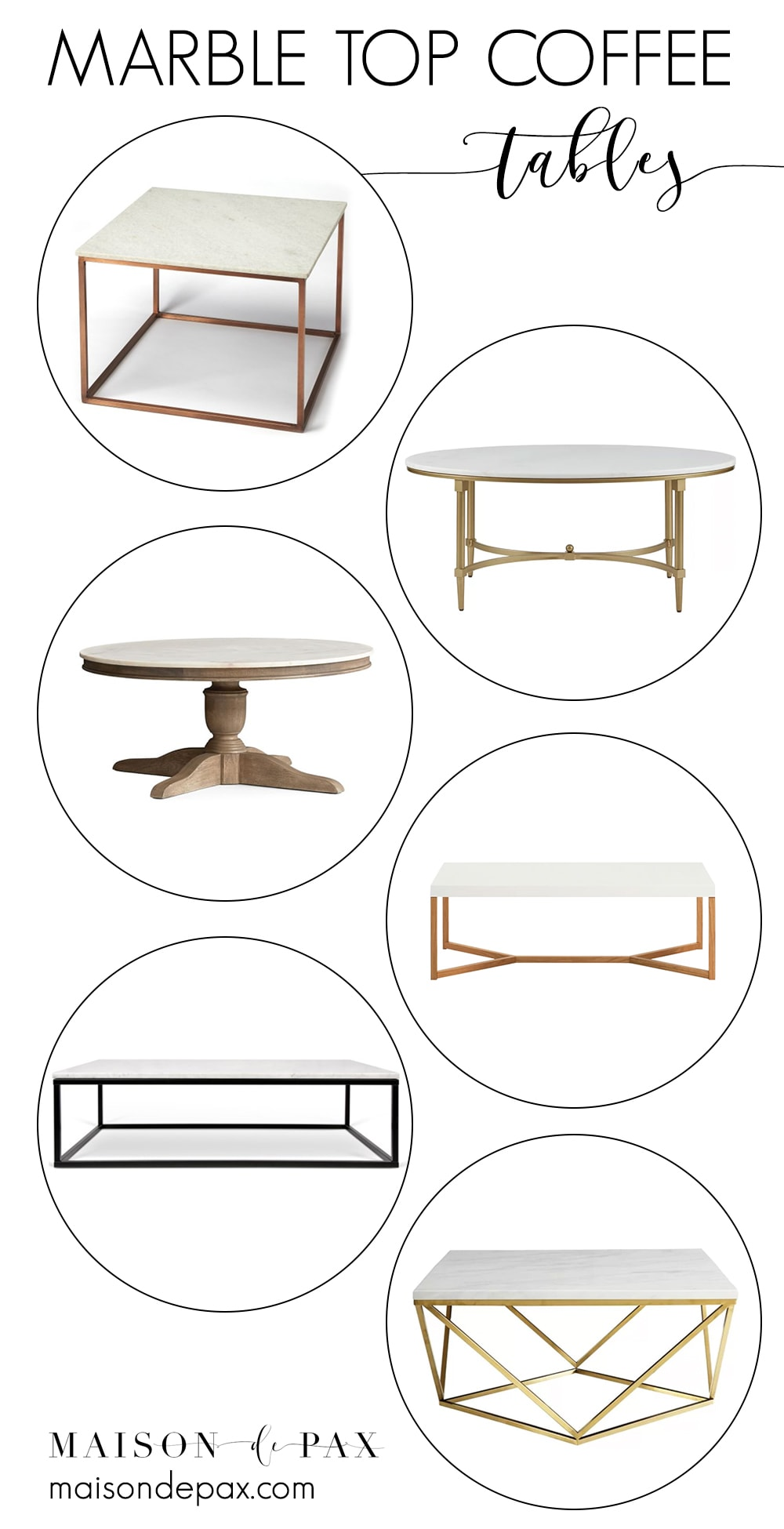 Looking for a marble top coffee table? Check out all these gorgeous options and a variety of prices!! #marbletop #marblecoffeetable #coffeetable #elegantfurniture #livingroomfurniture