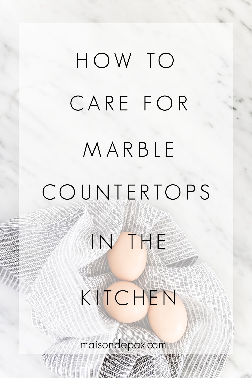 Wondering how to care for marble counters?  Don't miss these 5 tips on caring for marble countertops, including details on sealing marble counters, removing stains from marble, cleaning marble countertops, and avoiding scratches. #marble #marblecounters #marblecountertops #marblekitchen #marblecare #kitchencounters #kitchencountertops #carraramarble #cleaningmarble #marblesealer