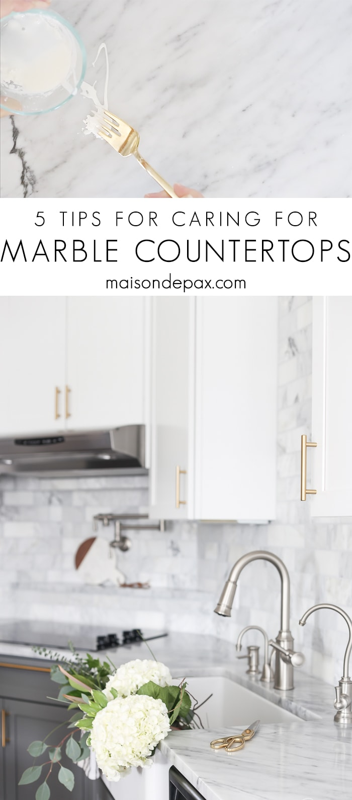 5 tips for caring for marble counters: Wondering how to care for marble counters?  Don't miss these 5 tips on caring for marble countertops, including details on sealing marble counters, removing stains from marble, cleaning marble countertops, and avoiding scratches. #marble #marblecounters #marblecountertops #marblekitchen #marblecare #kitchencounters #kitchencountertops #carraramarble #cleaningmarble #marblesealer